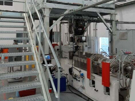Extrusion line for PE and PP foam pipe and profile production ALEMO EXT82-PRO
