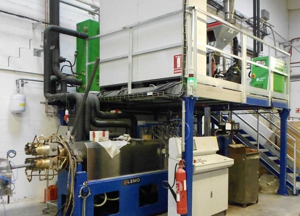 Extrusion line for PE and PP foam pipe and profile production ALEMO EXT90M-PRO