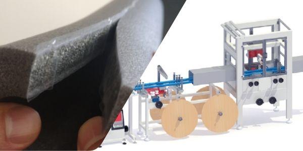 Pe foam pipe self seal application machine